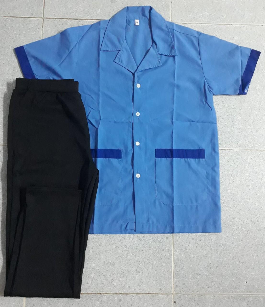 Bộ tạp vụ may sẵn áo xanh phối xanh quần thun đen
