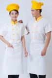 áo bếp trắng viền vàng may theo yêu cầu 10