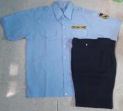 Bộ quần áo bảo vệ xanh biển lợt có bo tay ngắn có sẵn