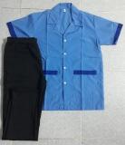 Bộ tạp vụ may sẵn áo xanh phối xanh quần thun đen hinh1