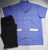 Bộ tạp vu áo xanh phối trắng quần thun đen may sẵn