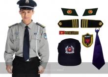 Bộ bảo vệ có sẵn áo xám tay dài quần xanh đen
