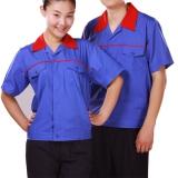 Quần áo công nhân xanh phối đỏ tay ngắn may theo yêu cầu 03